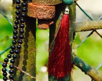 Black Jade mala with 108  semi precius gemstones made with love.