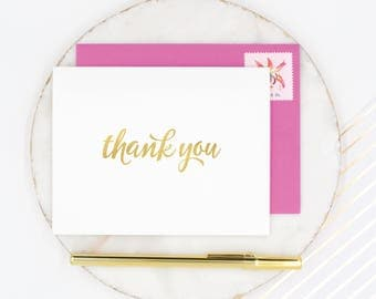 Thank You Cards, Gold Foil Stationery, Wedding Thank You Cards, Gold Thank You Notecards, Gold Foil Thank You, Foil Stamped Cards, Gold Foil