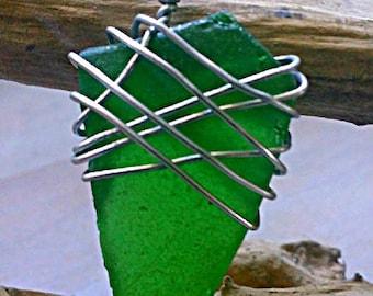 Bright Green Authentic Sea Glass Handmade Pendant