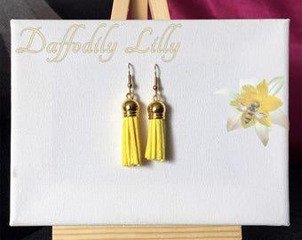 Suede Tassel Asymmetric Earrings Yellow