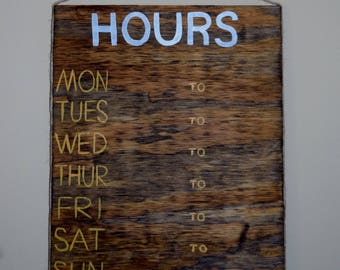 Custom Hours Sign, Store Hours Sign, Business Sign, Hours of Operation, Business Hours, Store Hours, Business Hours Sign, Wood Sign, Painted