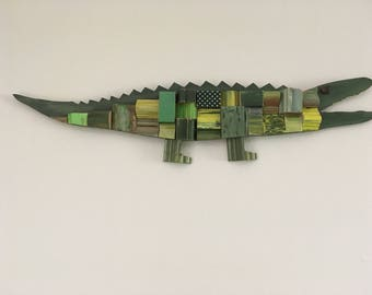 Wooden Alligator, Reclaimed Wood Art, Wall Decor, Wooden Wall Art