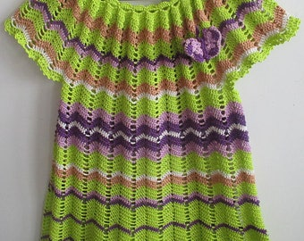 Crocheted lacy sort dress tunic in zigzag for a girl