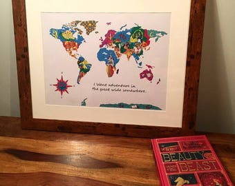 Beauty and the Beast Inspired Map, World Map, Beauty and the Beast  Wall Art Decor, Beauty and the Beast  A4 Print