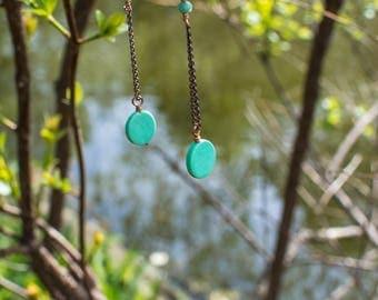 Seafoam Green Turquise Copper Circle Drop Dangle Earrings swarovski gem Accents