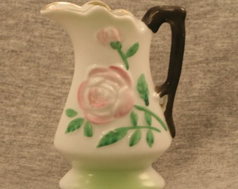 White Creamer with Raised Pink Roses Stamped Occupied Japan