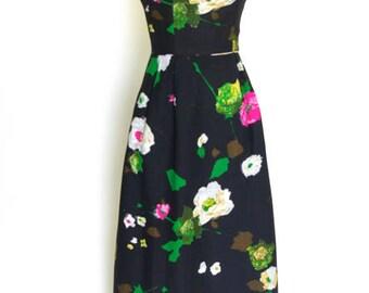 Black Floral Linen Maxi dress
