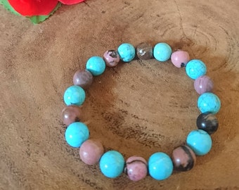 Bracelet of gemstone Turquoise and Rhodonite
