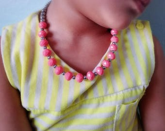 Coral & silver beaded necklace