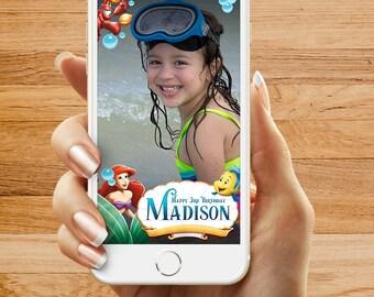 Little Mermaid Birthday Party Snapchat Geofilter, Happy Birthday Filter, Custom Snapchat Geofilter
