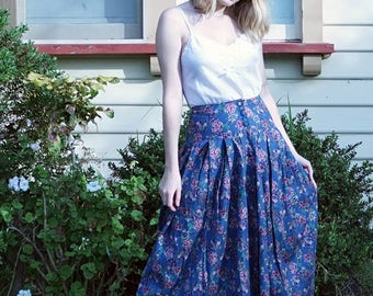 Floral Blue Vintage Pleated Midi Skirt