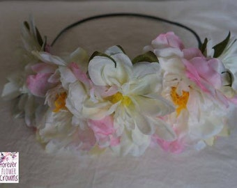 Peony and Lotus Flower Crown,pink,white,quality,races,adult crown,floral headband,artificial flowers,princess crown,made to order,fashion