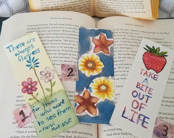 Handmade Watercolor Bookmarks, Gift bookmarks, Flowers and Strawberry