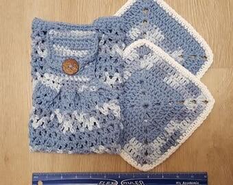 Set of Handmade Crochet Dishtowel and 2 Dishcloths in Light Blue/Faded Denim, Dish towel, Dish cloth, Cotton