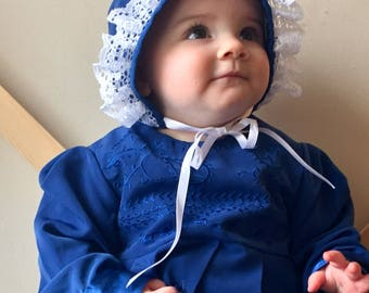 Custom Baby Dress – Royal blue and White with Bonnet – 175.00