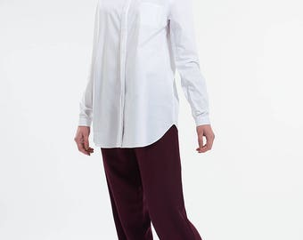 Lissom Pleat Back Shirt White Cotton Relaxed Fit Office Smart Casual