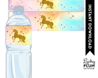 Unicorn Water Bottle Labels / Unicorn Napkin Ring / Rainbow Water Bottle Labels / Magical Water Bottle Labels / Rainbow UC02