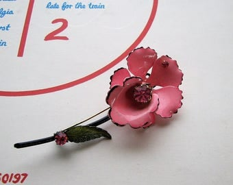 signed Coro enamel flower brooch . bright pink orchid flower pin with rhinestones with long stem