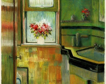 Keyhole to Spring - Colorful Framed Room Portrait of a Flower Bouquet in a Window Belinda DelPesco
