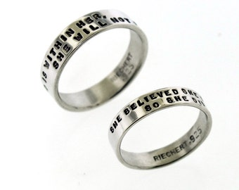 Personalized Silver Ring with 2 Lines of hand stamped text, band is custom made with your message by Kathryn Riechert (tiny text)