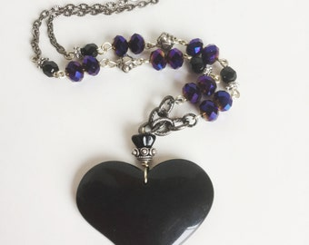 Black Heart Pendant Necklace, Iridescent Dark Purple Faceted Glass Beads, Crown Torch Sacred Heart, Gun Metal Silver Chain, Handmade Jewelry