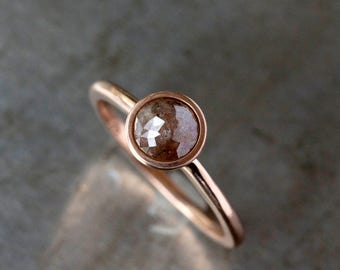 Rose Cut Natural Color Diamond Ring, 14k Rose Gold Band, Rose Gold Diamond Ring, Unique Engagement Ring, Ethical Diamond Conflict Free