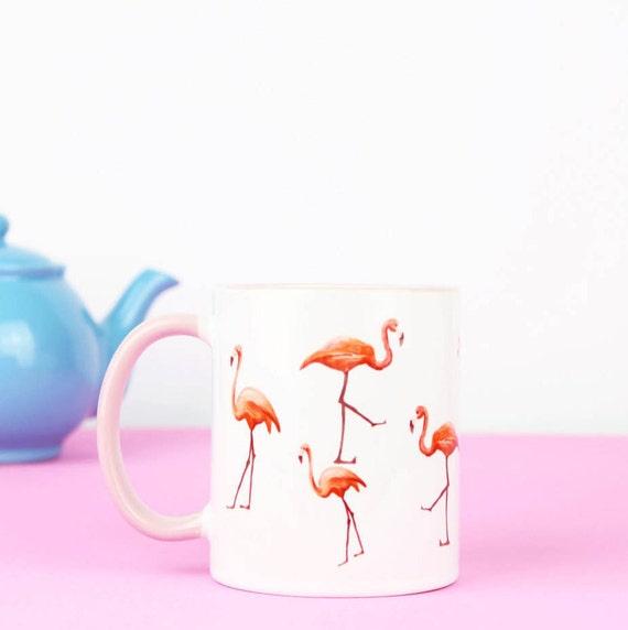 Flamingo mug, pink handle with flamingos dotted around mug, flamingos are so lovely and cute