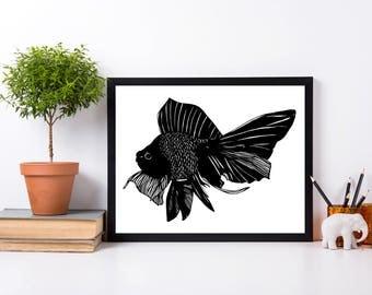 Beauty Fish Original Ink Drawing - Art Print
