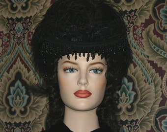 Riding Hat Mourning Hat 1880s Victorian Hat Black Hat - Mrs Lincoln Black - Veil