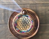 Flower of Life Incense Burner with Glass Mosaic Design