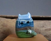 Handmade Lampwork Focal Glass Cat Bead - Ryan FatCat - Landscape Focal