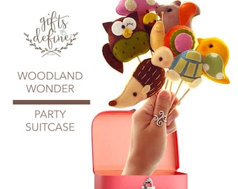 Free US Ship Set of 5 WOODLAND WONDER Party Suitcase, Party Favors, Custom Reusable Cake Topper for Wedding, Shower, Birthday Party Decor