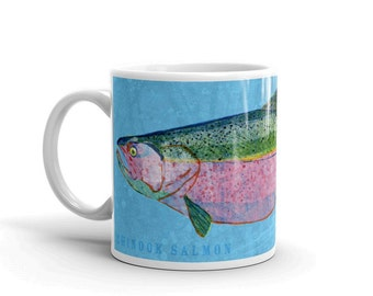 Gifts for Dad- Gifts for Dad- Husband Gift- Fish Mug- Chinook Salmon Mug- Fishing Gift- for Fisherman Gift- Fish Gift for Him