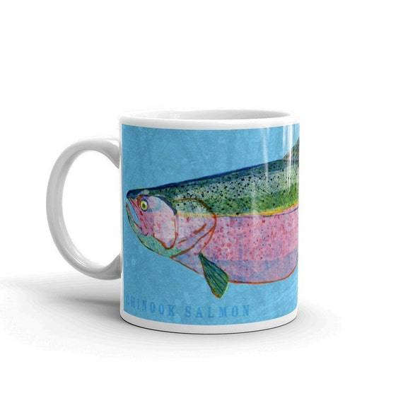 Gifts for dad husband gift fish mug chinook salmon mug for Fishing gifts for dad