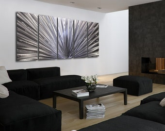 Extra Large Modern Multi Panel Metal Wall Art, Silver Abstract Wall Sculpture, Contemporary Wall Decor - Cosmic Projection XL by Jon Allen