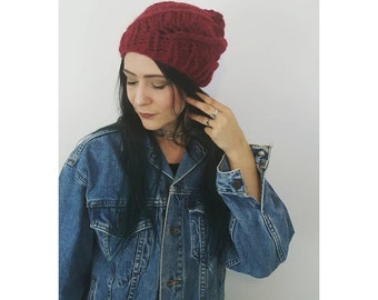 Chunky Knit Spiral Lace Beanie in Recycled Maroon Wool - One of a Kind - Warm Slouchy Beret Hat Womens Accessories - Red Soft Handmade Cap