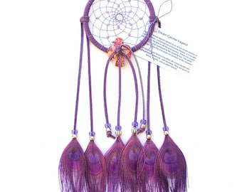 Lilac Purple Dream Catcher, Peacock Eyes Feathers