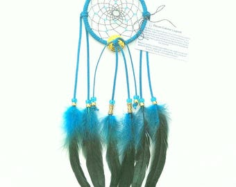 Turquoise Dream Catcher, Bronze Rooster Feathers