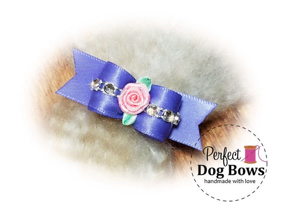 Sweetheart Dog Bow, Lilac Puppy Bow, Bling Pet Hair Bow, Fancy Dog Bows
