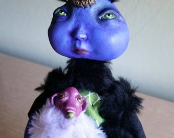 Art Doll, Alien OOAK Handmade Doll & Dog, Outer Space Creature, Cute Monster, Tamra Kohl, Collectible Doll, Plush Monster, Sculpture