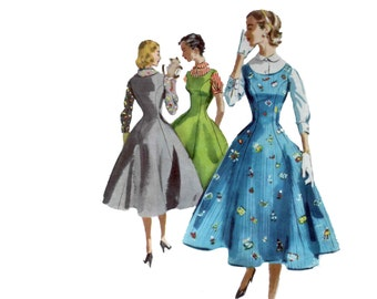 50s Princess Seam Dress pattern Fit and Flare dress pattern vintage 33-27-36 Full Skirt Dress hourglass Fitted Blouse mccalls 3354