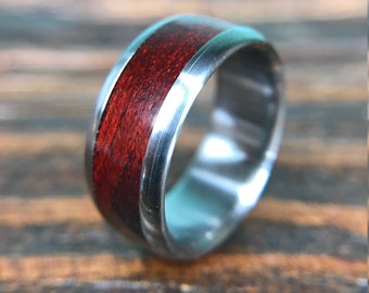 Titanium Ring, Wedding Ring, Wood Ring, Bloodwood Ring, Mens Ring, Womens Ring, Mens Wedding Ring, Wood Wedding Ring, Wood Inlay Ring