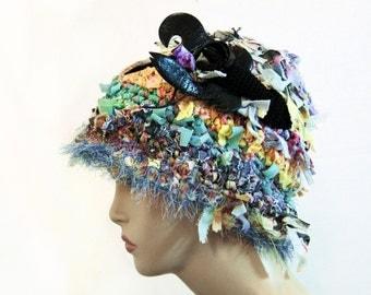 Crochet crazy hat, crochet hat, hats for women, funky hat, rag hat, statement hat, cool hat, cool crazy hat, beanie, cloche hat, shabby chic