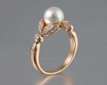 NEW - AURORA 14K gold ring with diamonds and White Freshwater Pearl