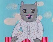 Cat's Pajamas - Small Acrylic/Graphite painting on Paper