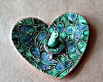 Ceramic Ring Holder Peacock Green gold edged engagement ring holder