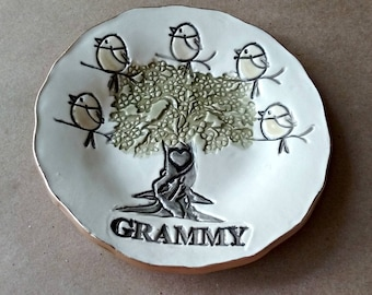 GRAMMY 5 Birdy Ceramic  Trinket Bowl edged in gold  Mothers day