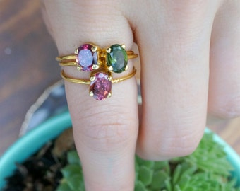 6mm pink tourmaline oval cut 14K gold-fill ring. stackable rings. dainty gold gemstone ring dark pink oval gem. dusty rose