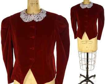 80s Red Velvet Jacket / Vintage 1980s Tailored Evening Jacket with White Lace Collar / Victorian Inspired / Women's Medium
