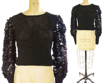 90s Paillette Sleeve Sweater / Vintage 1990s Knit Top with HUGE Sequin Sleeves / Black Goth Punk Avant Garde Designer Art to Wear Pullover